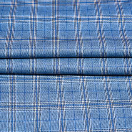 Blue White Checks Wool Fabric-90202