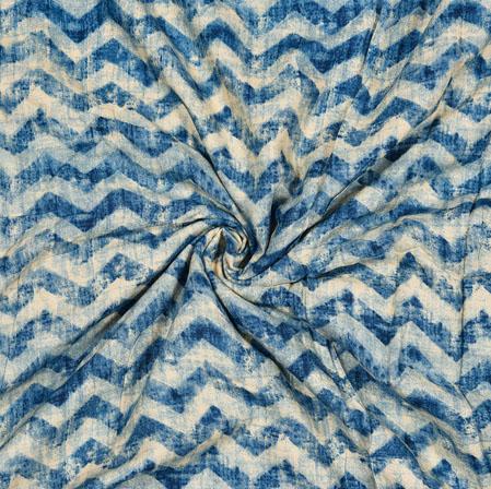 Blue White Zig-Zag Cotton Flex Fabric-28187