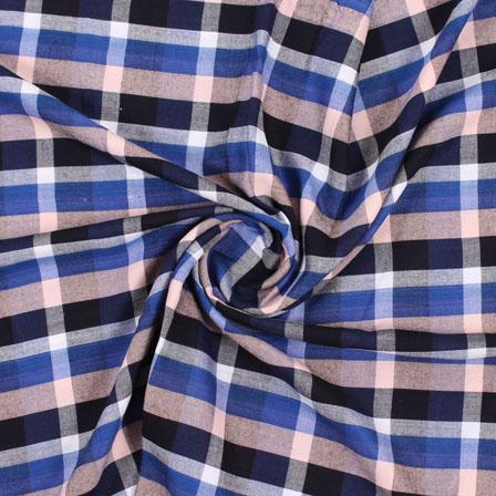 Blue White and Black Check Handloom Khadi Cotton Fabric-40446