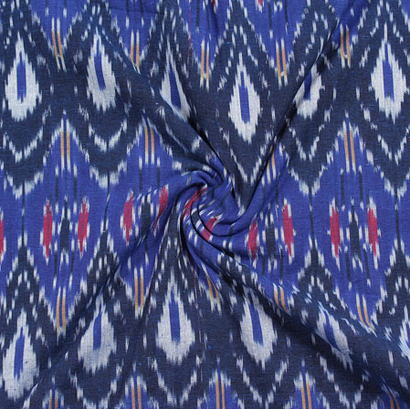 Blue White and Black 3D Ikat Cotton Fabric-11033