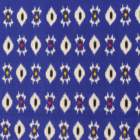 Blue-White and Black Square Pattern Kalamkari Cotton Fabric-10042