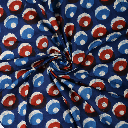 Blue-White and Brown Polka Design Block Print Cotton Fabric-14459