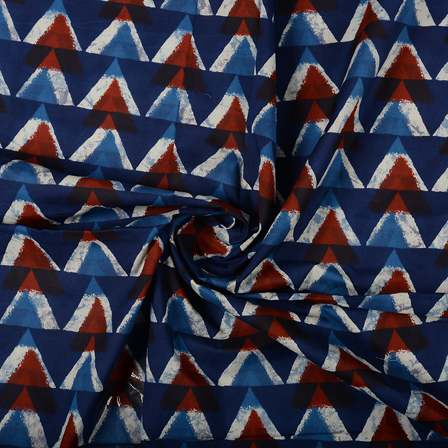 Blue-White and Brown Triangle Design Block Print Cotton Fabric-14458