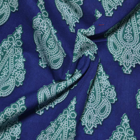 Blue-White and Light Green Paisley Pattern Block Cotton Fabric-14001