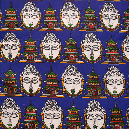 Blue-White and Orange Buddha Shape Kalamkari Cotton Fabric-5578