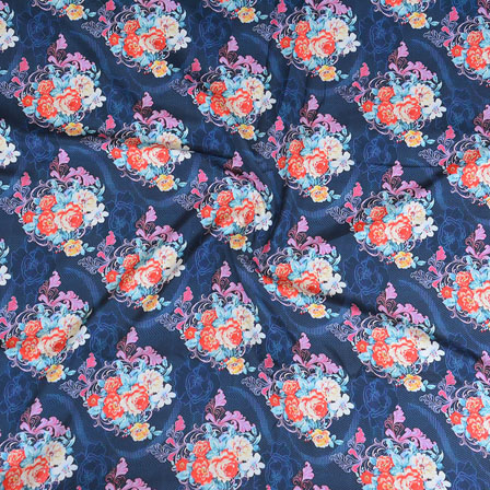 Blue White and Orange Flower Crepe Silk Fabric-18230