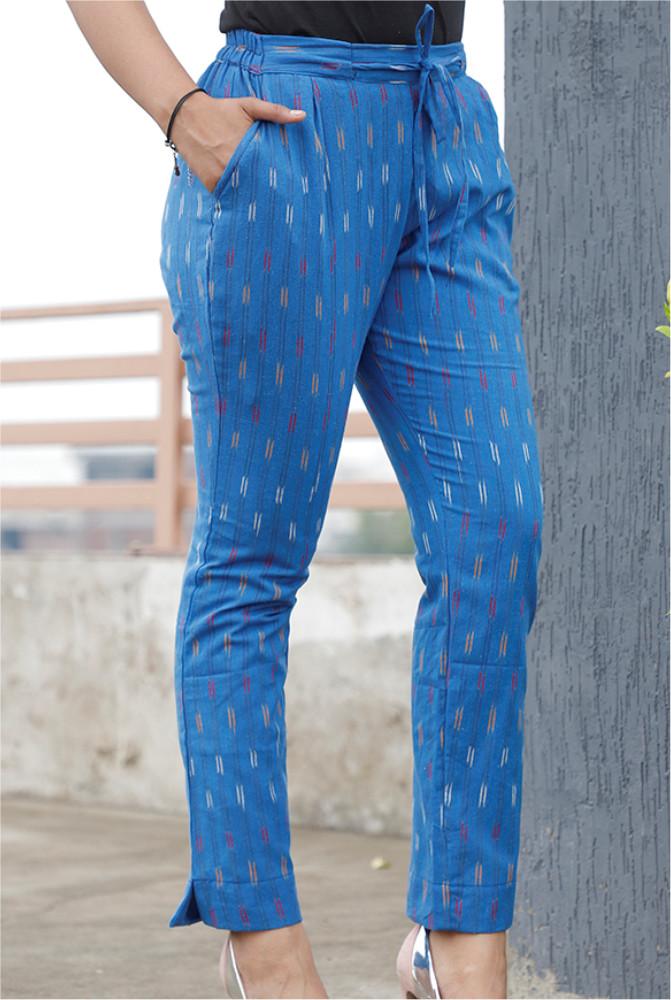 Blue White and Pink Cotton Ikat zig zag Narrow Pant-33875