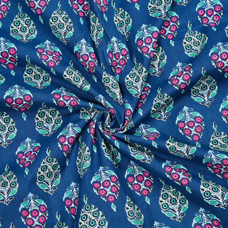 Blue White and Pink Floral Cotton Fabric-28082