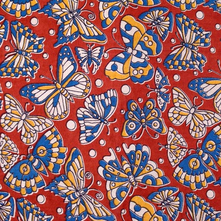 Blue-White and Red ButterFly Pattern Kalamkari Cotton Fabric-4252