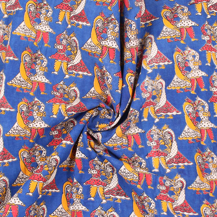 Blue-White and Red Dancing Kalamkari Cotton Fabric -10166