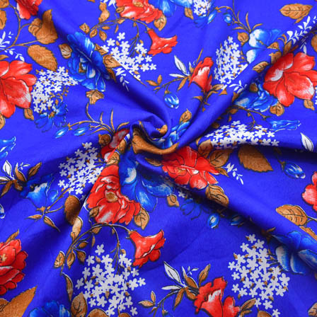 Blue-White and Red Flower Pattern Crepe Fabric-18002
