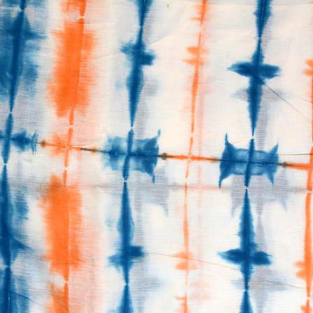 Blue White and Saffron Tie Dye Pure Cotton Fabric by the Yard
