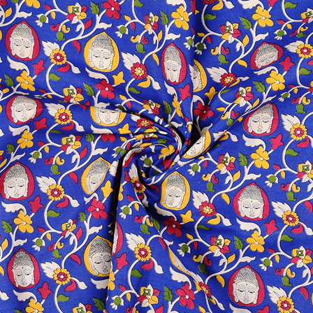 Blue-White and Yellow Buddha Cotton Kalamkari Fabric-10135