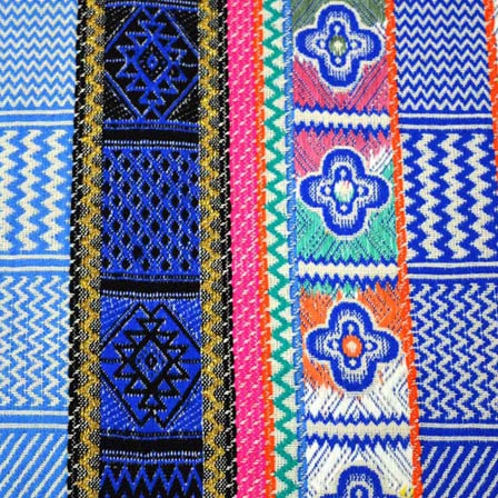 Blue-White and Yellow Indian Design Cotton Jacquard Fabric-31027