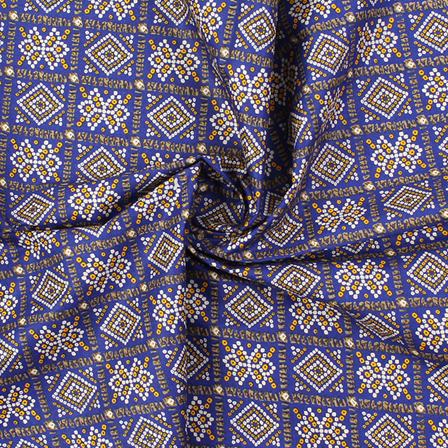 Blue-White and Yellow Square Design Kalamkari Cotton Fabric-10020