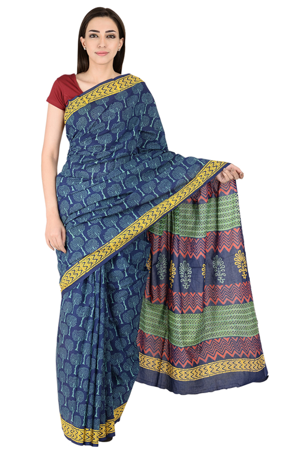 Blue-White and Yellow Tree Pattern Cotton Block Print Indigo Saree-20154