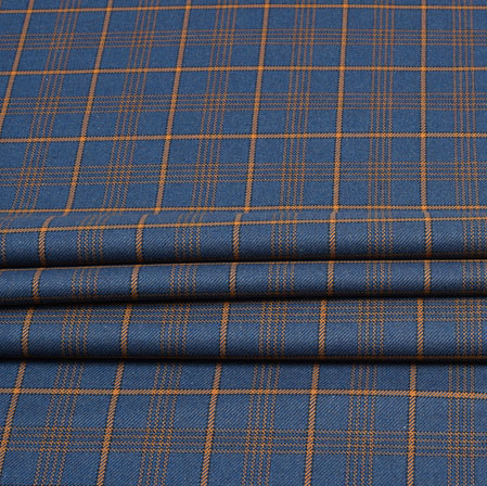 Blue Yellow Check Wool Fabric-90116