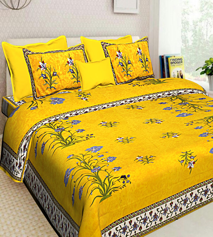 Blue Yellow Cotton Jaipuri Bedsheet-641