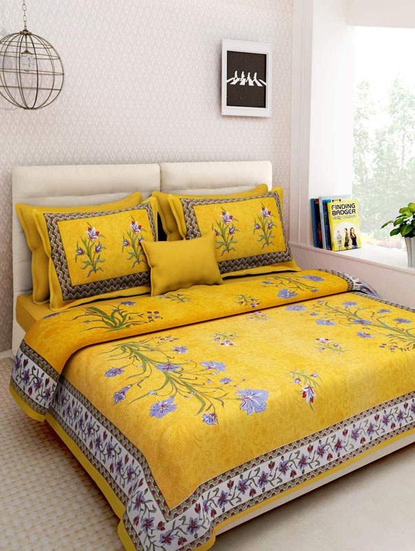 Blue Yellow Cotton Jaipuri Bedsheet-662