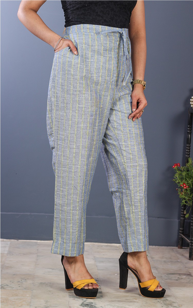 Blue Yellow Cotton Stripe Pant-35205