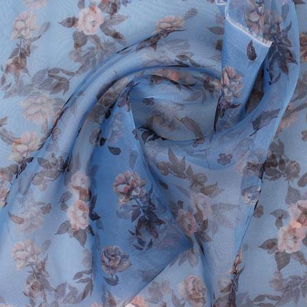 Blue Yellow Digital Organza Silk Fabric-51576