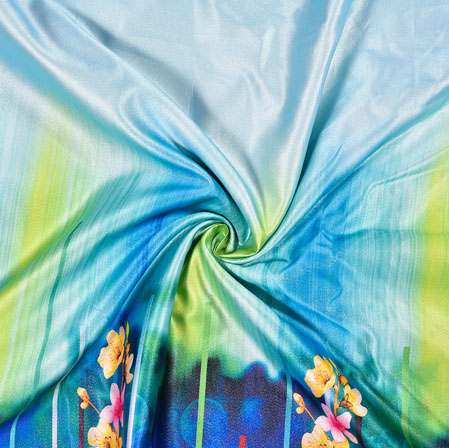 Blue Yellow Digital Print Panel Work Georgette Fabric-41169