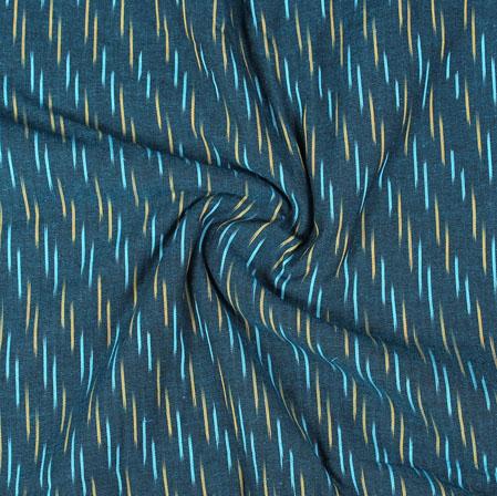 Blue Yellow Ikat Cotton Fabric-11069