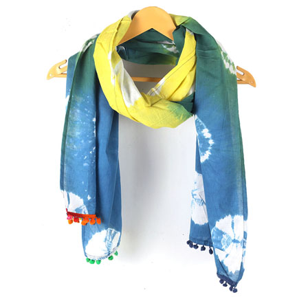 Blue Yellow Shibori Cotton Block Print Dupatta With Pom Pom-33107