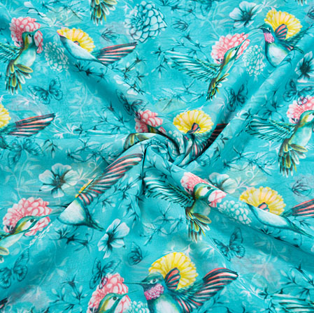 Blue Yellow Sparrow Georgette Fabric-41116