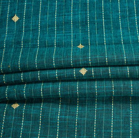 Blue Yellow Stripe Handloom Cotton Fabric-41033