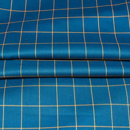 Blue Yellow Checks Wool Fabric-90177