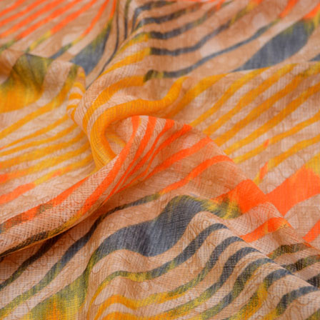 Blue-Yellow and Beige Leharia Design Kota Doria Fabric-6006