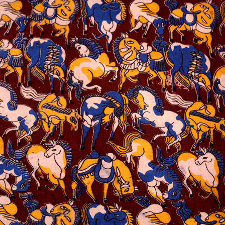 Blue-Yellow and Brown Horse Pattern Kalamkari Fabric-5523