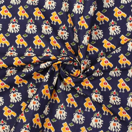 Blue-Yellow and Cream Sparrow Design Kalamkari Cotton Fabric-10007