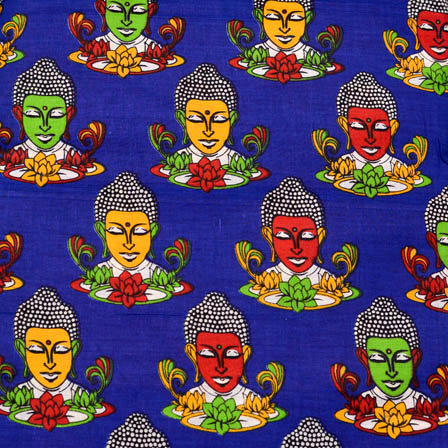 Blue-Yellow and Green Buddha design Kalamkari Cotton Fabric-5583