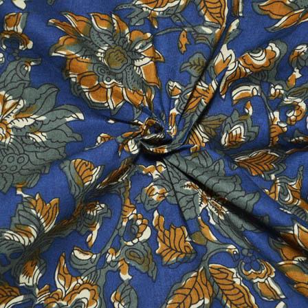 Blue-Yellow and Green Flower Design Kalamkari Print Cotton Fabric-14081