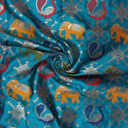 Blue Yellow and Maroon Animal Digital Banarasi Silk Fabric-9219
