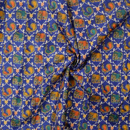 Blue-Yellow and Orange Elephant and Peacock Kalamkari Manipuri Silk Fabric-16247