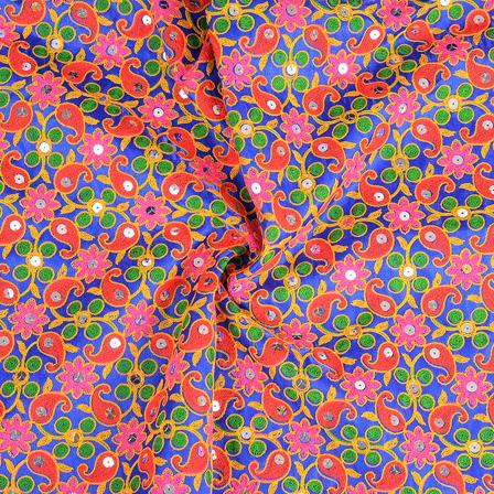 Blue-Yellow and Orange Gujrati Embroidery Fabric-60582