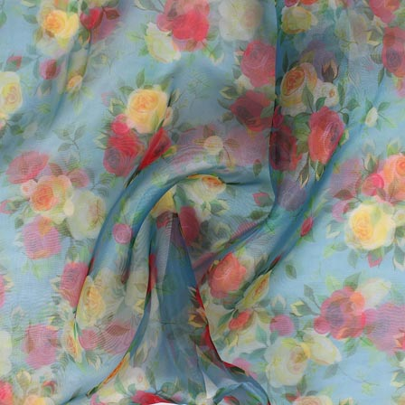 Blue Yellow and Pink Digital Organza Silk Fabric-51666