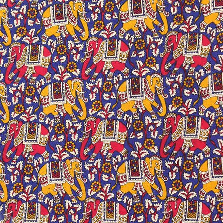 Blue-Yellow and Pink Elephant Pattern Kalamkari Cotton Fabric-10054