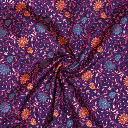 Blue Yellow and Pink Floral Banarasi Silk Fabric-9310