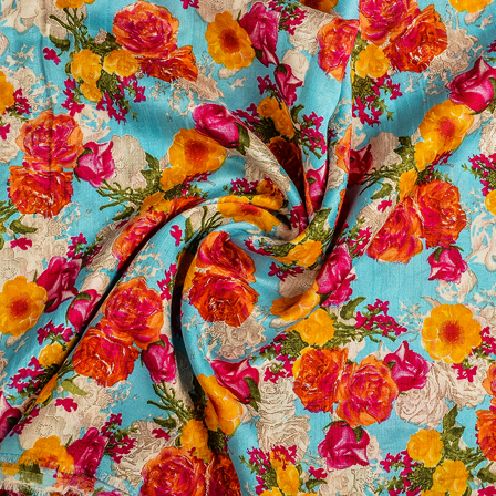 Blue-Yellow and Pink Flower Banglori Silk Fabric-37014