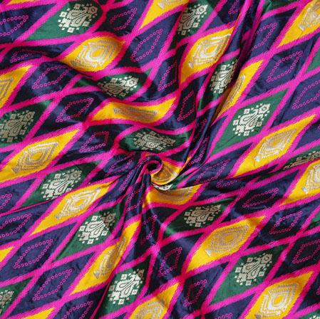 Blue Yellow and Pink Ikat Banarasi Brocade SIlk Fabric-12754