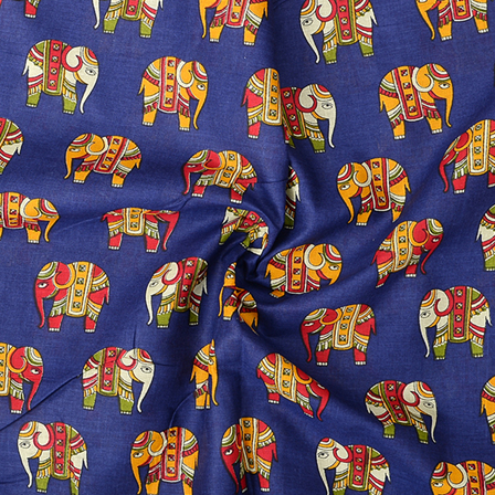 Blue-Yellow and Red Elephant Cotton Kalamkari Fabric-10100