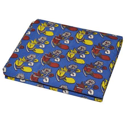 Blue-Yellow and Red Hand Mudra With Flower Pattern Kalamkari Fabric-5746