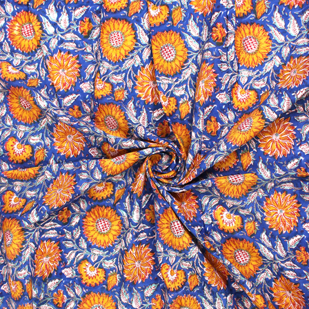 Blue-Yellow and White Floral Block Print Cotton Fabric-14564