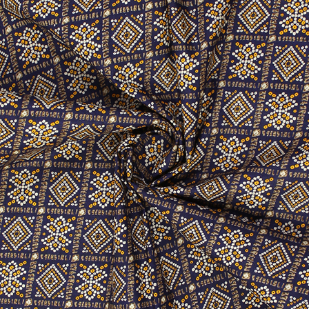 Blue-Yellow and White Square Design Kalamkari Cotton Fabric-10017