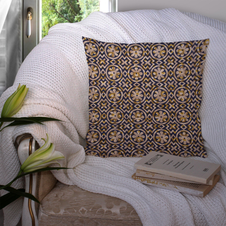 Blue and Beige Cotton Cushion Cover-35005