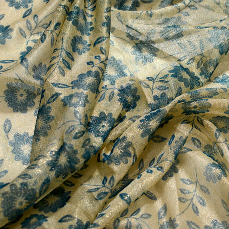 Blue and Beige Flower Design Lycra Fabric-6555